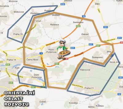 Mapa rozvoz Cipolla Počernice